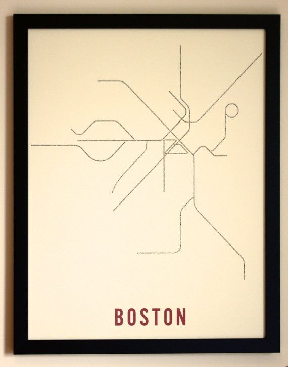 "Boston Typographic Transit Map 17"" x 22"""