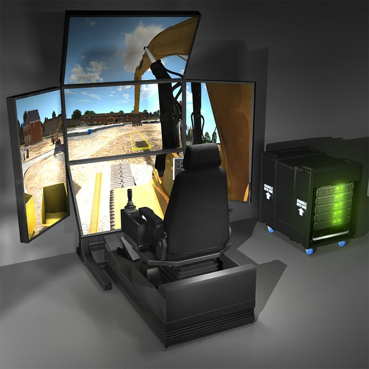 3D render of a VxMaster with 5 screens running an excavator operator training program.