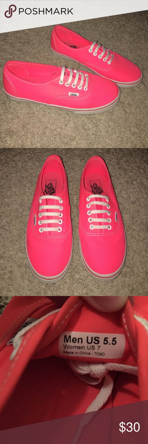 Neon pink/coral vans These are a very bright coral/pink neon vans. They were very lightly worn, but sadly I grew out them. Price negotiable. Vans Shoes