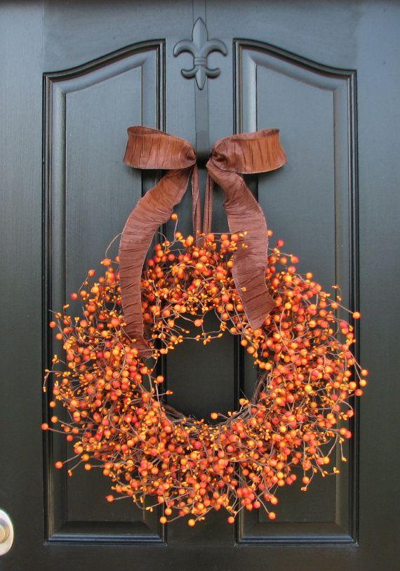 Jack O Lantern, Pumpkin Orange Berry Wreath, Pumpkin Pie, Berry, Oktoberfest, Halloween Decor, Front Door Wreaths