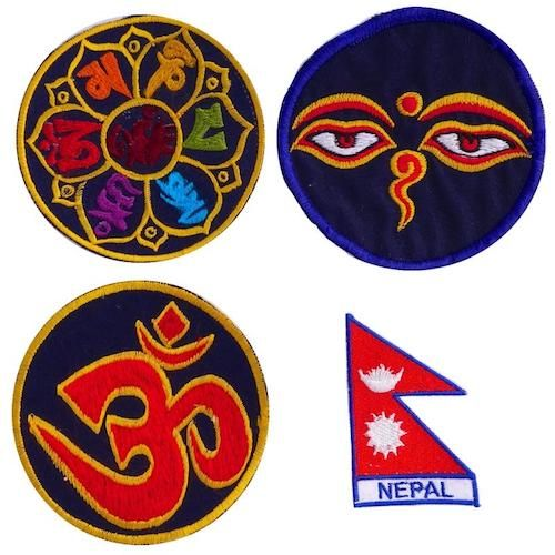 All our patches have been custom designed and hand stitched in Kathmandu Nepal. They were developed to compliment our Buddha Packs or Pouches.  Learn more, https://backpackbuddha.com/collections/buddha-packs/products/handmade-patches-om-7-chakras-buddha-eyes-nepal-flag