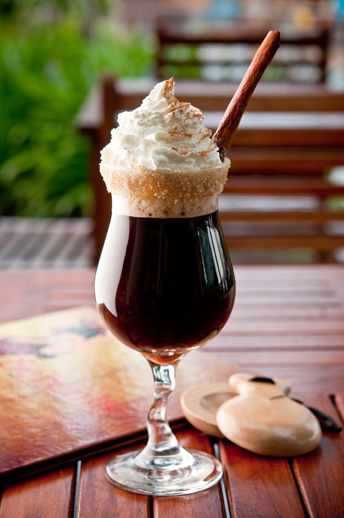 Spanish Coffee 1/2 shot rum 1 shot Kahlua coffee liqueur 1 splash triple sec Top with coffee Add cinnamon