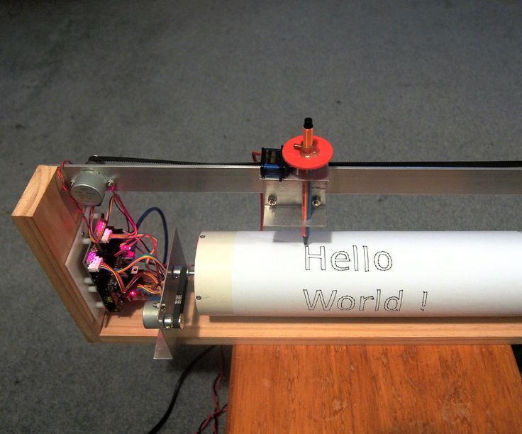 This instructable describes an A4/A3 plotter made from a section of plastic pipe, two BYJ-48 stepper motors and an SG-90 servo. Essentially it is a flat-bed plotter rolled up into a drum.One motor rotates the drum while the other moves the print-head. The servo is used to raise and lower the pen. This plotter has a number of advantages over a traditional flatbed plotter: significantly smaller footprint only requires one linear guide rail simple to construct cheapAn on-board interpreter a...