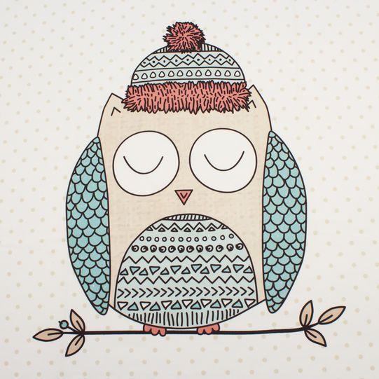 Microfleece blanket with polka dots and owl