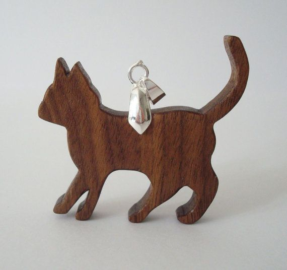 Scroll Saw Wood Cat Necklace Walnut Hand Cut by OohLookItsARabbit, $16.00