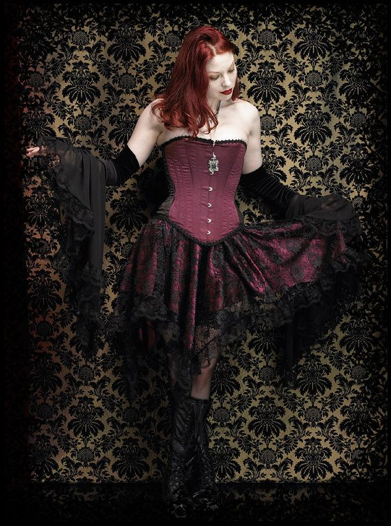 Celcia Gothic Fairy Skirt in Lace Over Satin Fairy by rosemortem