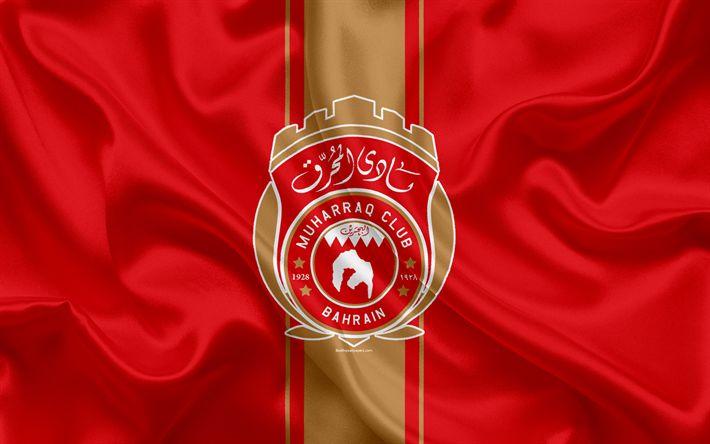 Download wallpapers Al-Muharraq SC, 4k, Bahrain football club, emblem, logo, silk flag, Bahraini Premier League, Muharraq, Bahrain, football, Bahrain football championship, Al-Muharraq FC