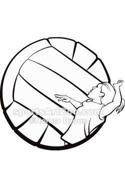 Sports Art Zoo - Black-and-White-Volleyball-Girl-Illustration #volleyball #sportsartzoo