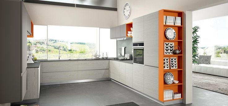 Cucina moderna wega finitura laminato sabbia e laccato - Cucine a giorno ...