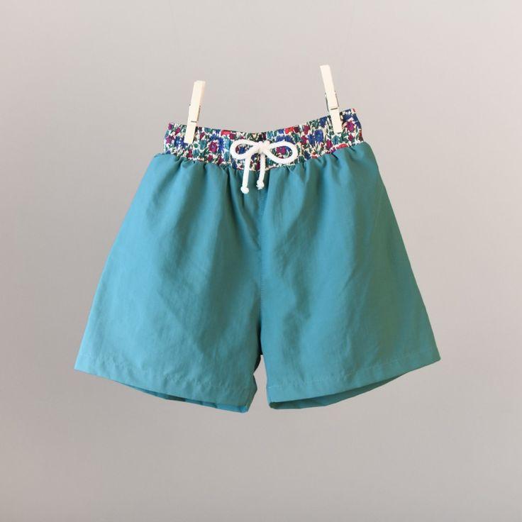 Maillot de bain uni Liberty garçon bleu turquoise Saint - Lunaire