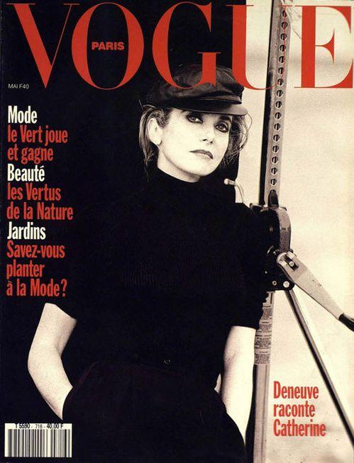 Catherine Deneuve photographiée par Peter Lindbergh pour le numéro de mai 1991 de Vogue Paris