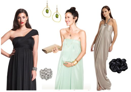 Jersey & chiffon, long dangly earrings, strappy heels, statement clutches