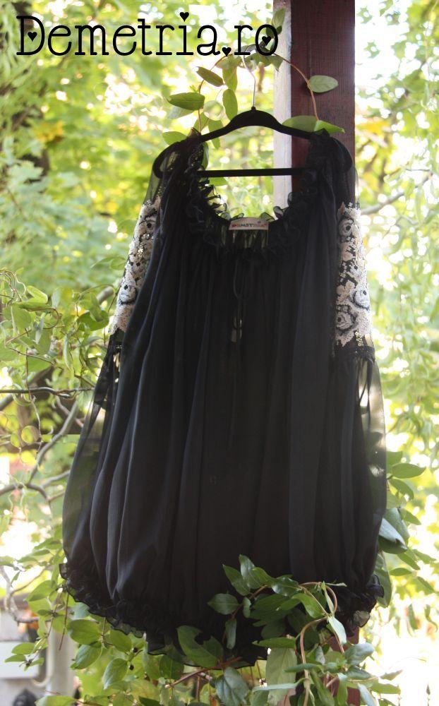 Black silck Demetria blouse