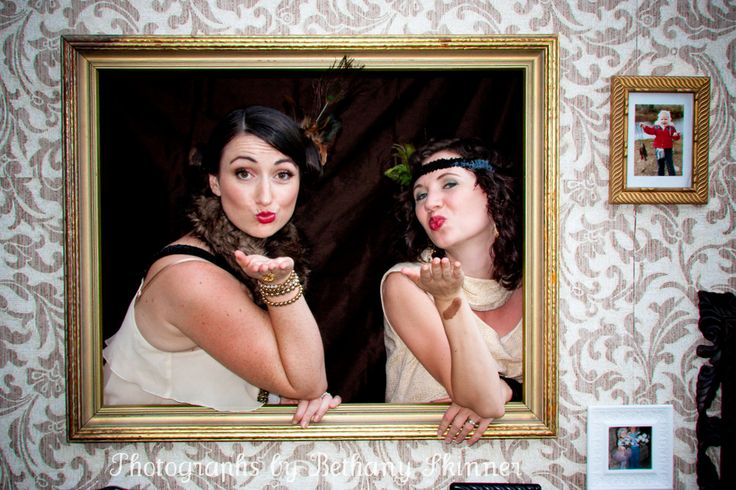 "1920's Party Photo Booth Tutorial - I like this ""booth"" because it looks like the ladies are coming out of the picutre and wall!"