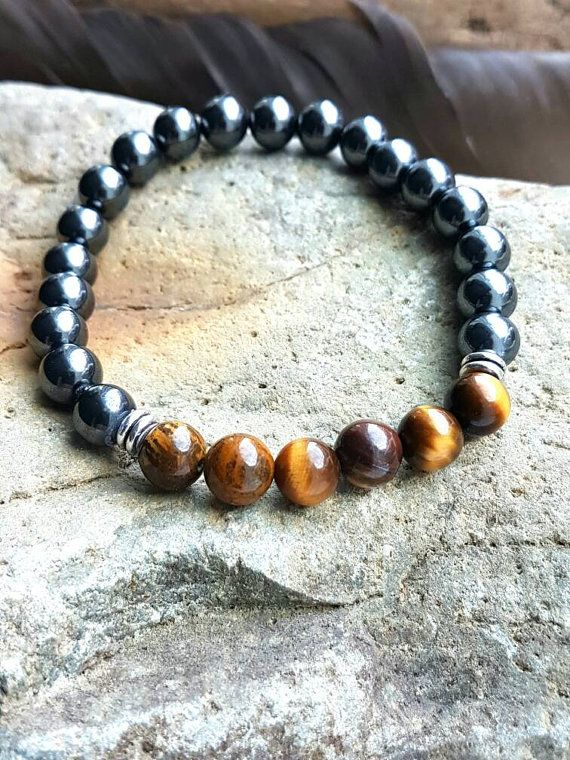 Check out this item in my Etsy shop https://www.etsy.com/ca/listing/485068420/hematite-tiger-eye-bracelet-mens