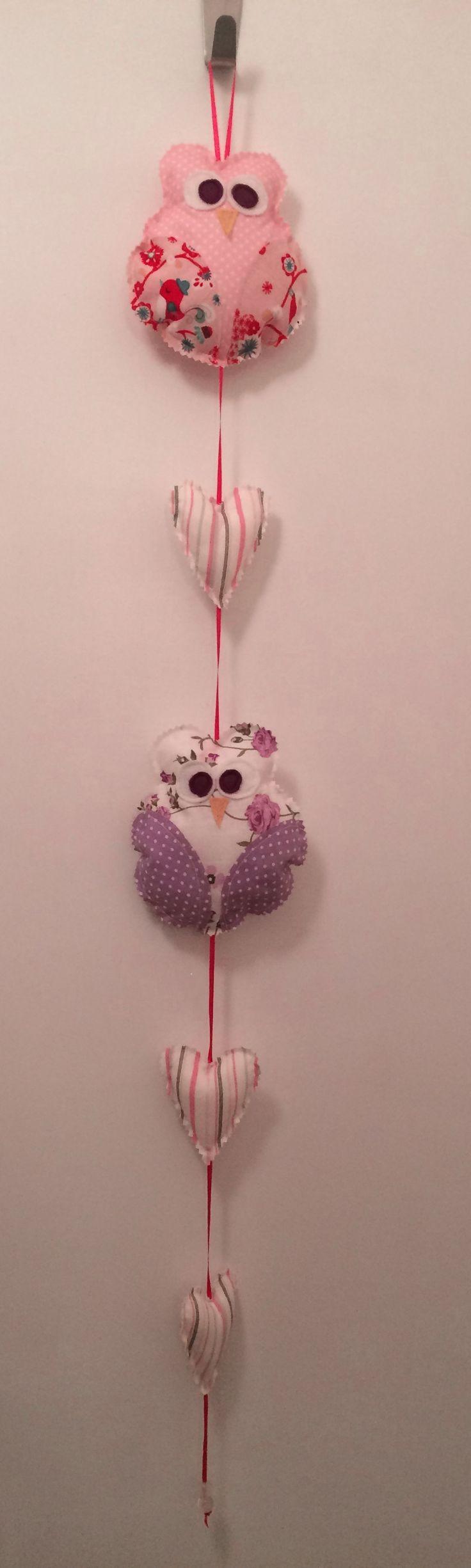 Owl and hearts, handmade garland for a kids room or playroom or nursery #fabricowls #fabrichearts #handmadegarland #kidstuff #kidsroomdeco #kidsmobile #nurserydeco #almanogr