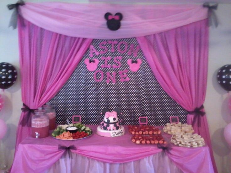 Cake and food table for Aston's Minnie Mouse birthday party. 1st birthday. Cake table backdrop.