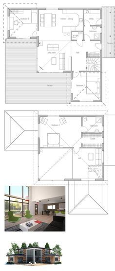 Charming Small House Plan With Three Bedrooms And Two Living Areas, Second Living  Area On The