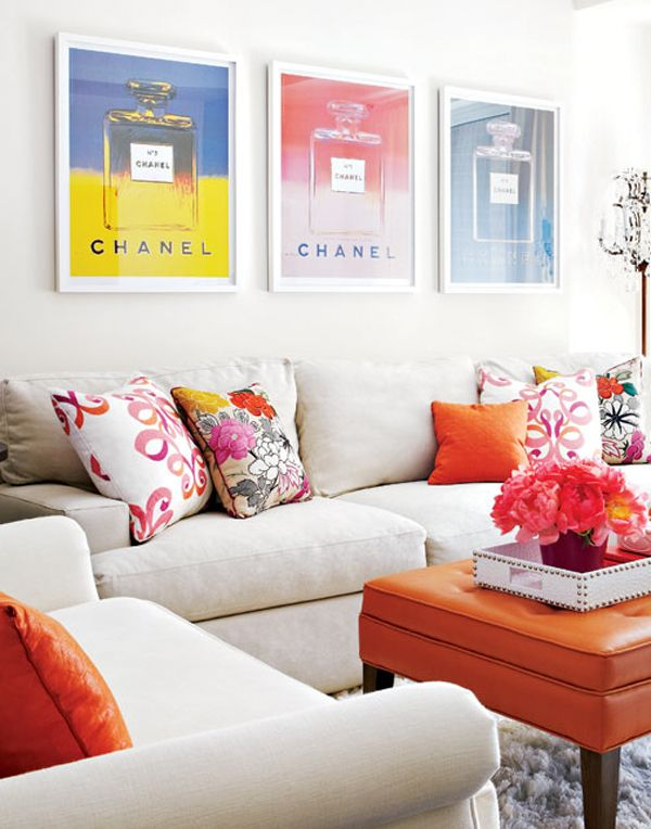 orange accents in a  living room, styl. jessica waks