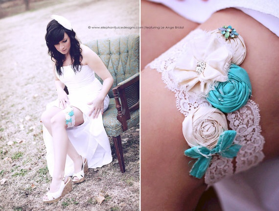 SET Tiffany Blue silk wedding garters with Vintage