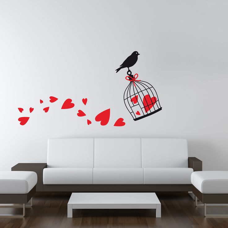 "Wallsticker ""Birdcage with hearts"" http://ow.ly/IIQVX"