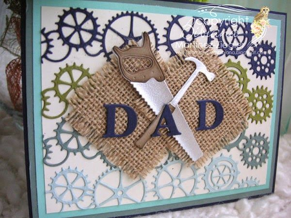by Bibiana: Father's day card using memory box dies hammer and saw and the gearworks die as a background.