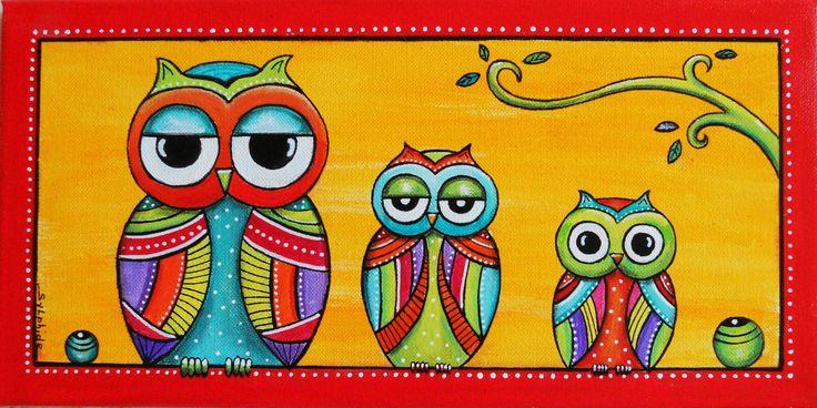 """Tableau de famille de la petite chouette """"Lulu"""" : Peintures par sylphide"""