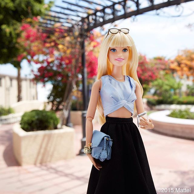 Cooling down in the California heat in a crop top and full skirt.