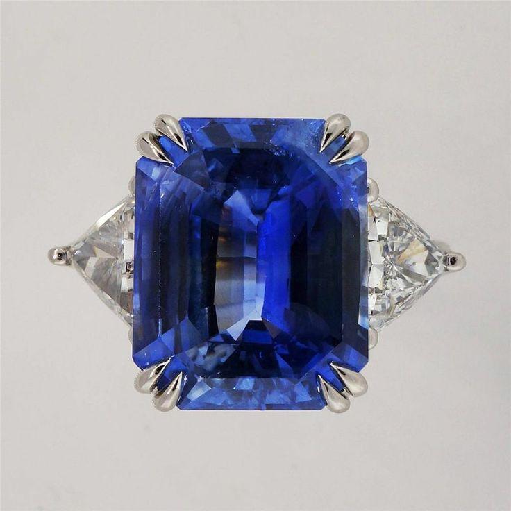 Vintage Art Deco 10.11ct Asscher Step Cut Natural Sapphire ...