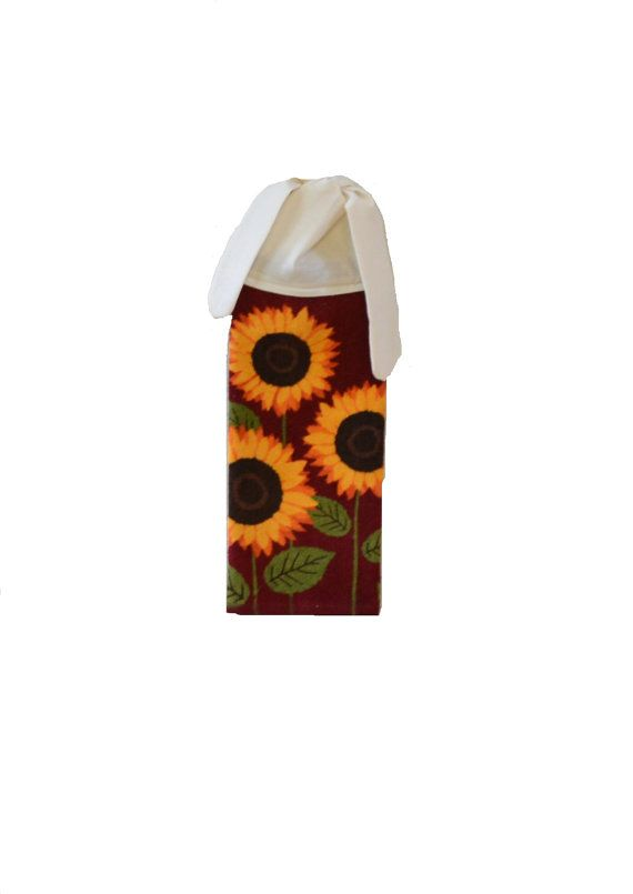 Kitchen Hand Towel Sunflower Dish Towel Fall By SuesAkornShop