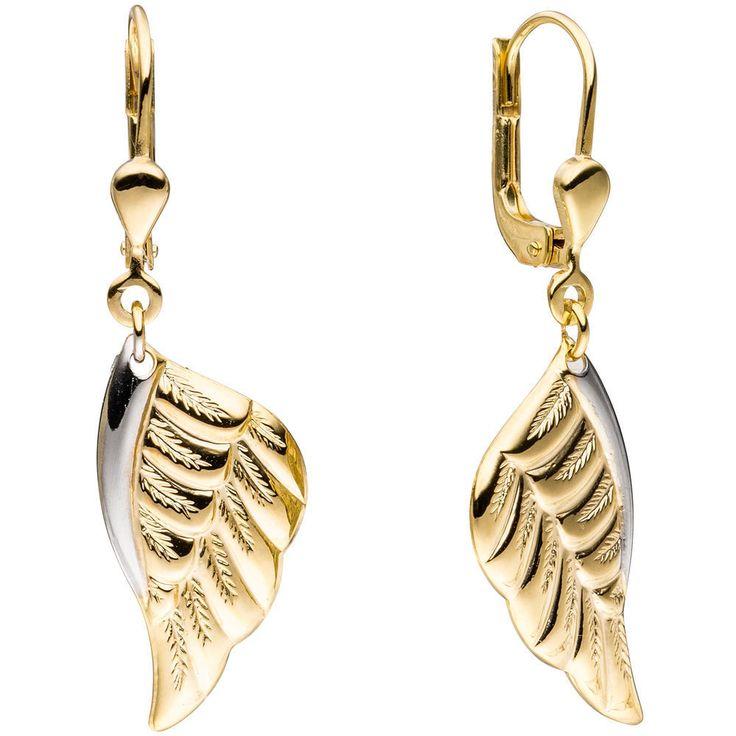 NEU Bicolor Engelsflügel Ohrringe Boutons 2 farbig 333 echt Gold 333er Ohrhänger