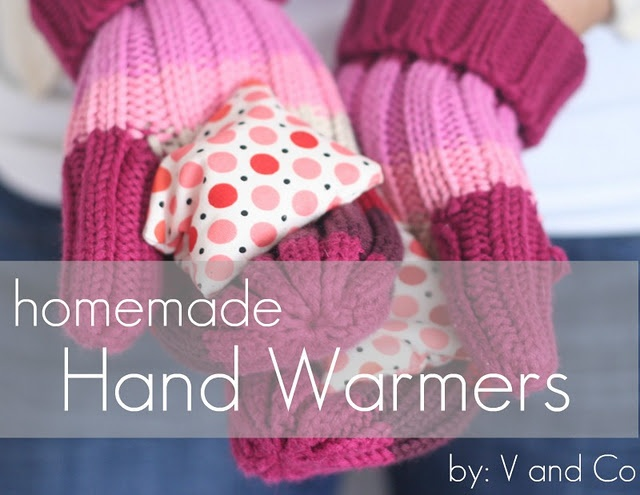 hand or feet warmers made from fabric pouches filled with rice & warmed in the microwave for 15 seconds*. hold in your hands and warm up your digits.  *can also be used as eye packs (freeze them for cool packs, or warm them for warm packs) *not recommended: heating them up for longer amounts than 15 seconds as it may cause burns on skin. I could use this right now!