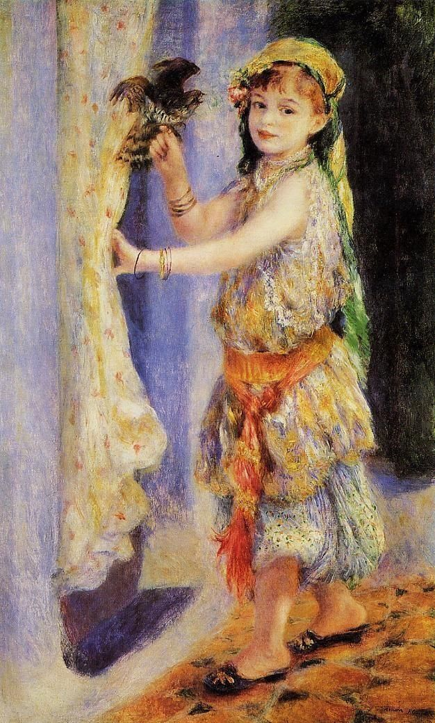 Girl with Falcon by Pierre Auguste Renoir,