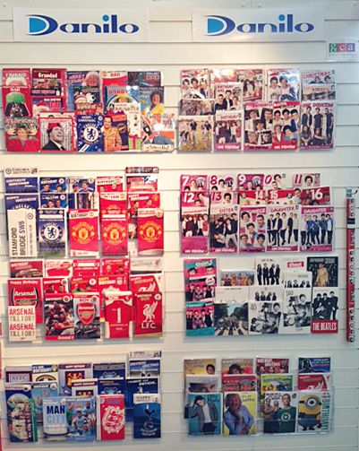 Some of our new card ranges including One Direction, The Beatles, Football Teams, Sound Cards, Christmas Cards