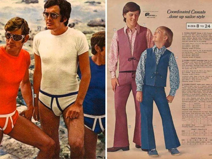 Confira uma série de anúncios, editoriais e lookbooks da época mais crazy da moda masculina, 1970.
