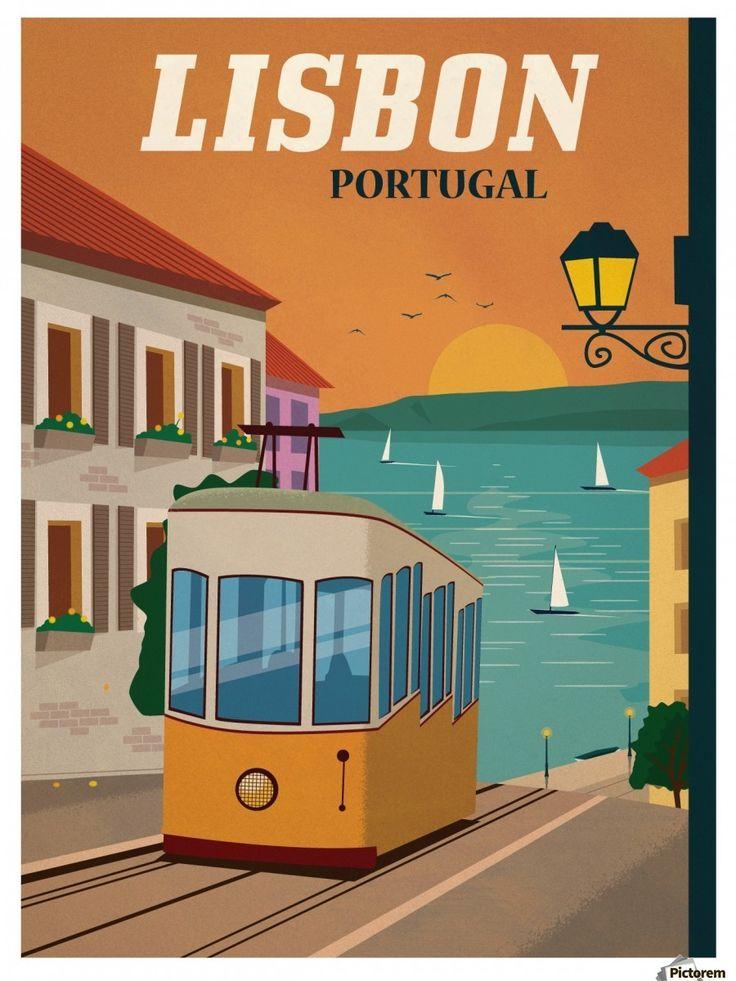 Vintage Lisbon travel poster – VINTAGE POSTER – Canvas Artwork