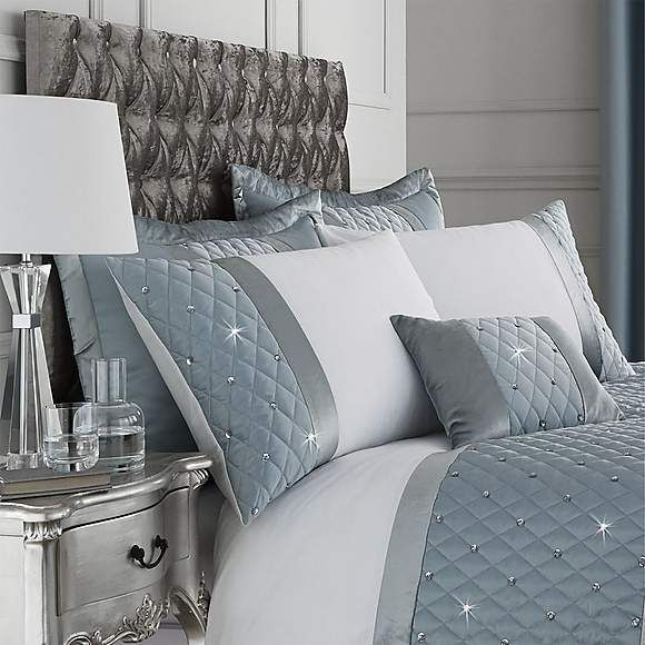 Catherine Lansfield Sequin Cluster Quilt Cover Luxury Duck Egg Blue Bedding Set