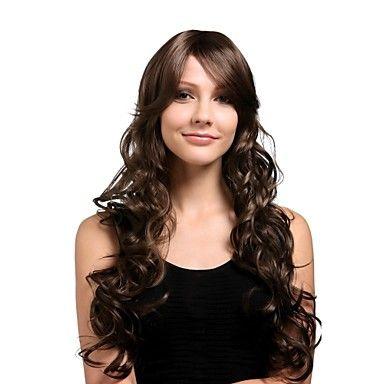 Capless extra lång högkvalitativt syntetiskt naturlig look gyllenbrun lockigt hår peruk – SEK Kr. 168