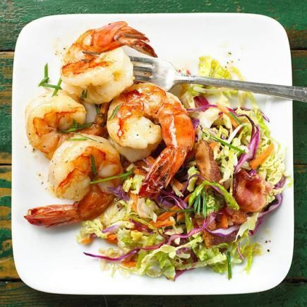 Shrimp with Warm Coleslaw: Add coleslaw, bacon and chives to shrimp for this quick and easy meal.