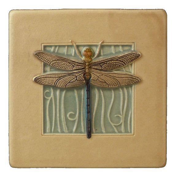 Arte decoración de la pared de azulejo, libélula, 4 x 4 pulgadas