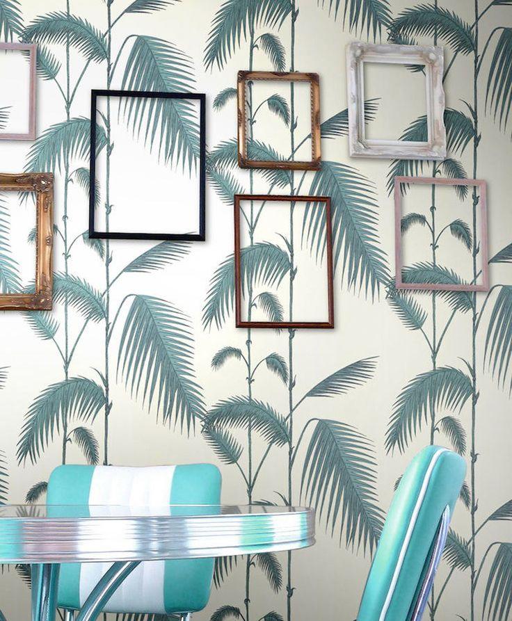 tienda online telas & papel | Papel pintado palmeras color blanco roto