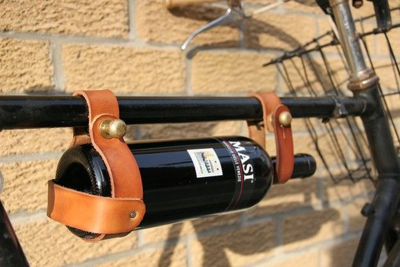 Bicycle Wine Rack Tan Leather Bike Bottle Holder by oopsmark