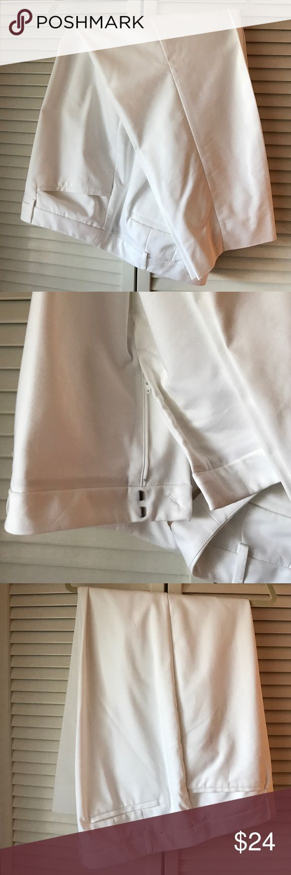 Full length white slacks. Full length white slacks.  Size 26. Two front pockets. Two small pockets on the back. Only worn once. From a smoke free home. Lane Bryant Pants Trousers