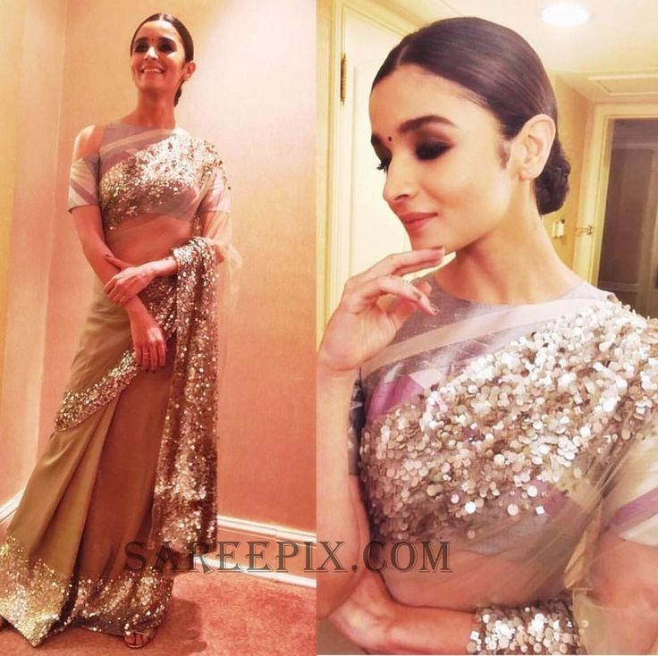 Beautiful actress Alia bhatt in Manish Malhotra saree, posted on her Instagram profile. She looks cute in transparent saree.