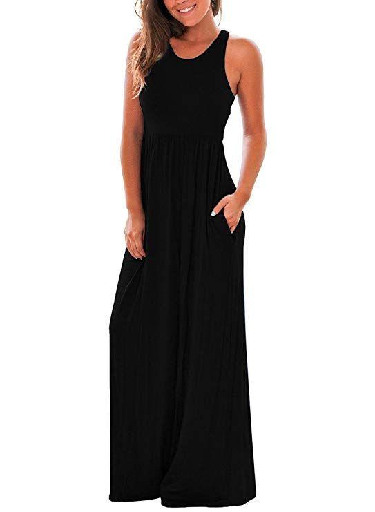 Womens Sleeveless Round Neck Long Maxi Casual Loose Dress Large