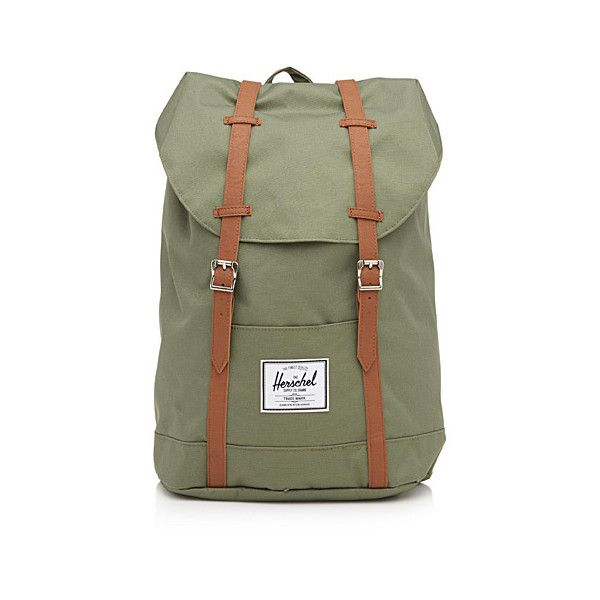 Herschel Retreat Herschel backpack (€54) ❤ liked on Polyvore featuring bags, backpacks, herschel backpack, canvas laptop backpack, green canvas backpack, draw string backpack and padded backpack