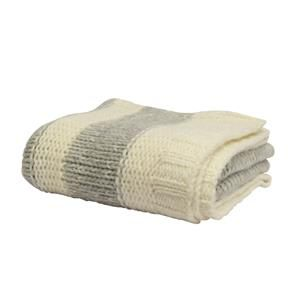 FRENCH COUNTRY Large White Cable Knit Throw