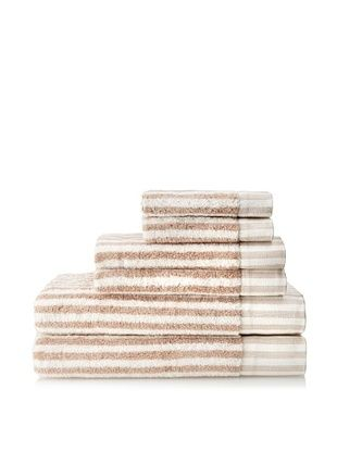Esplama 6-Piece Country Road Stripes Towel Set (Ivory/Sand)