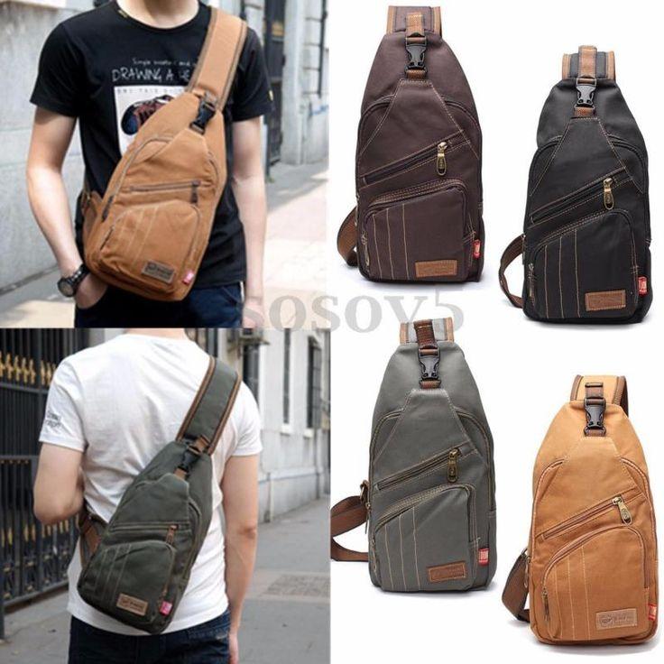Men Canvas Travel Hiking Crossbody Messenger Shoulder Chest Bag Sling Backpack