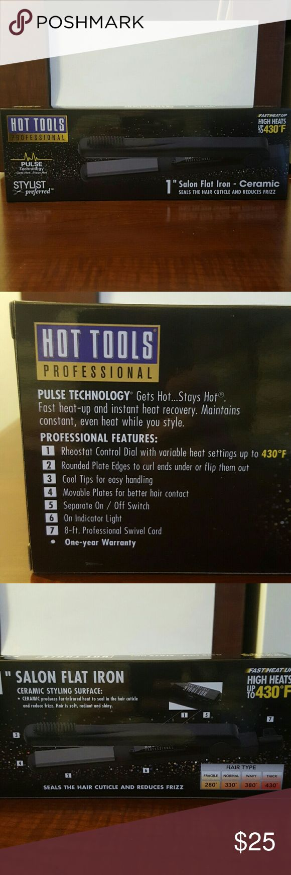 """Ceramic Flat Iron By Hot Tools Professional. 1"""" flat ceramic flat iron. Heats up to 430 degrees with 4 settings. Rounded edges. Brand new, never opened. Other"""